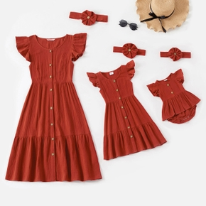 100% Cotton Crepe Solid Flutter-sleeve Matching Red Midi Dresses