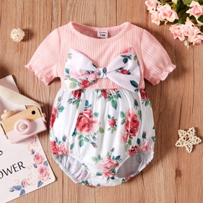 Baby Short-sleeve Floral Print Bowknot Casual Romper