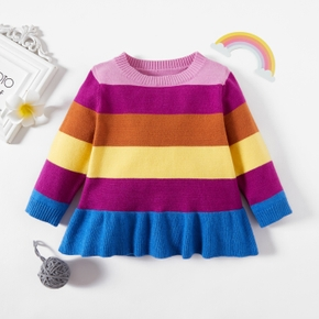 Baby Girl Striped Rainbow Color block Sweater Pullover