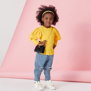 2-piece Baby / Toddler Solid Top and Denim Pants Set