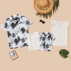 Family Look Lace Tank and Coconut Tree Shirt Matching Tops