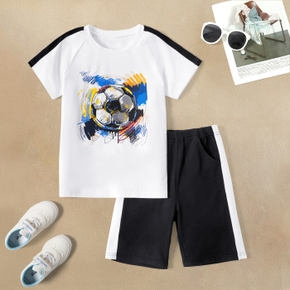 Football Print Top and White Side Shorts Athleisure Set for Kids
