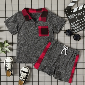 2-piece Baby/Toddler Red Plaid Stitching Top and Shorts Set