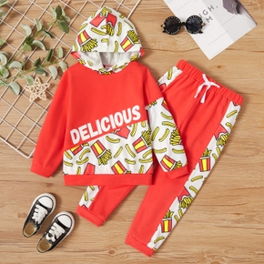 2-piece Toddler Boy Letter French fries Print Hoodie and Pants Set