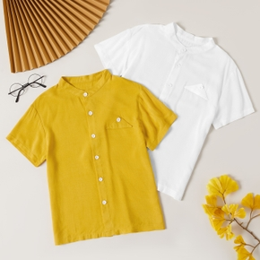 Fashionable Kid Boy Short-sleeve Solid Shirt Blouse
