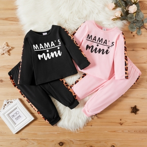 2-piece Baby Girl Letter Leopard Print Long-sleeve Top and Elasticized Pants Set