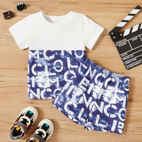 2-piece Toddler Boy Letter Print Splice Tee and Shorts Set