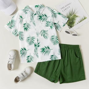 2-piece Kid Girl Leaf Print Short-sleeve Shirt and Solid Shorts Set