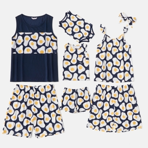 Family Funny Omelette Pattern Printed Round Neck Sleeveless Matching Pajamas Set(Flame Resistant)