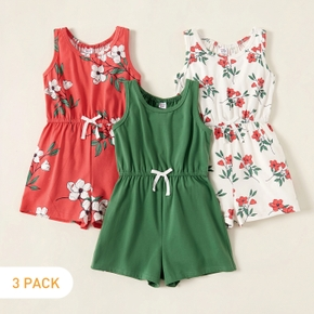 3-piece Kids Girl Floral Allover Solid Strappy Jumpsuits