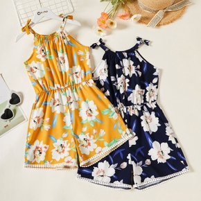 Kid Girl Floral Print Halter Bowknot Decor Rompers