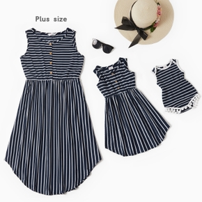 Mommy and Me Striped Stitching Tank Dresses