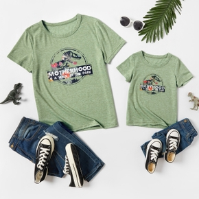 Round Collar Dinosaur Floral Print Short Sleeve Casual T-shirts for Mommy and Me