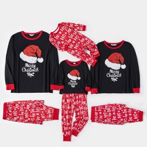 Merry Christmas Family Matching Letter Print Long-sleeve Pajamas Set (Flame Resistant)