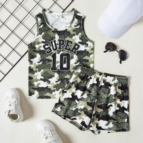 Number '10' Camouflage Print Tank Top and Shorts Athleisure Set for Toddlers / Kids