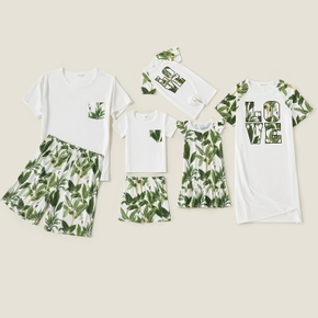 Mosaic Leaves Print Family Matching Sets(Flame Resistant)