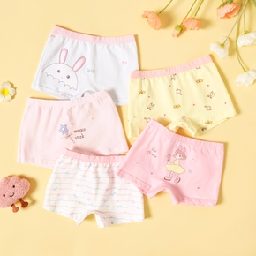 5pcs Toddler Girl Animal Cartoon Print Underwear