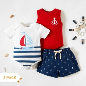 3-piece Baby Boy Sailboat Striped Allover Bodysuits