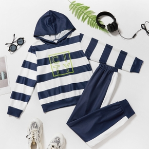 2-piece Kid Boy Letter Print Striped Colorblock Hoodie and Elasticized Pants Sporty Set