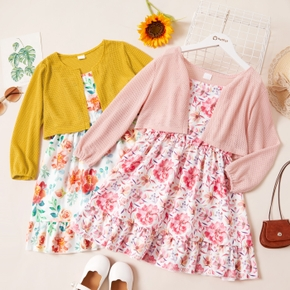 2-piece Kid Girl Floral Print Sleeveless Strap Dress and Solid Cardigan Set