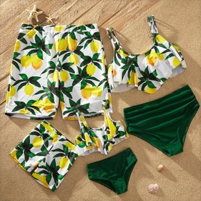 Lemon Print Family Matching Swimsuits