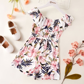 Kid Girl Floral Print Ruffle-sleeve Romper with Waistband