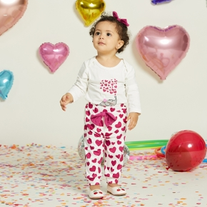 3pcs Baby Girl Sweet Heart-shaped & Elephant Baby's Sets Cotton Romper Fashion Long Sleeve Infant Clothing Outfits