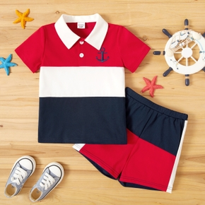 Toddler Boy Colorblock Polo shirt And Shorts
