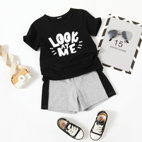 2-piece Toddler Boy Letter Print Round-collar T-shirt and Elasticized Shorts Set