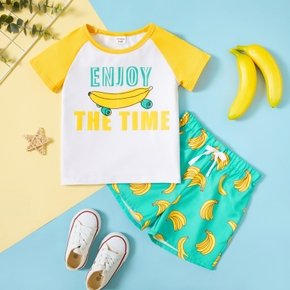 Toddler Boy Banana Letter Print Tee And Shorts