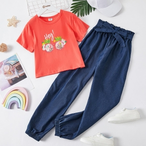 2-piece Kid Girl Letter Pineapple Floral Print Top and Jeans with Waistband Set
