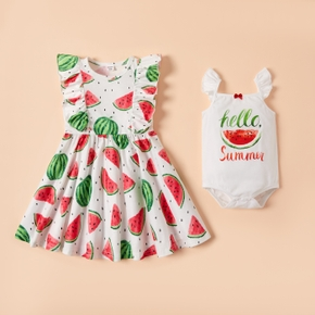 Mosaic Watermelon Pattern Siblings Matching Sets