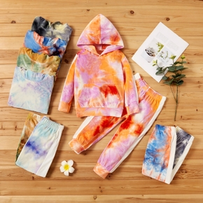 2-piece Baby / Toddler Colorful Tie-dye Long-sleeve Hooded Pullover and Pants Set