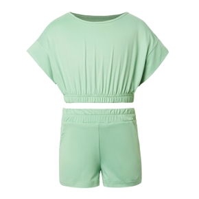 Solid Top and Shorts Athleisure Set for Kids