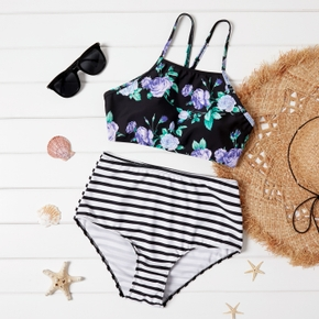 Stripes Floral Print Vacation two piece/bikini swimwear