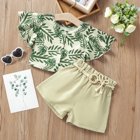 2-piece Baby / Toddler Girl Print Plant Top and Shorts Set