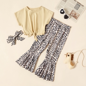 2-piece Toddler Girl Solid Tee and Leopard Pants Set