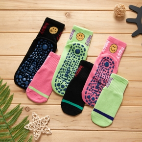 100%Cotton Smile Colorful Shoes Non-slip Socks for Mommy and Me
