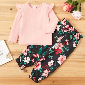 Fashionable Solid Flare-sleeve Top and Floral Allover Print Pants Set