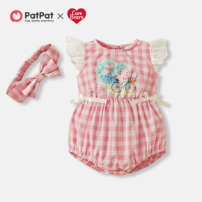 Care Bears Baby Girl Cotton Plaid and Lace Romper with Headband