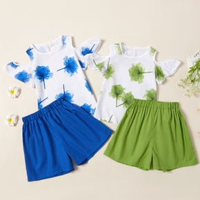 Beautiful Kid Girl 2-Piece Flutter-sleeve Floral Print Shorts Suits