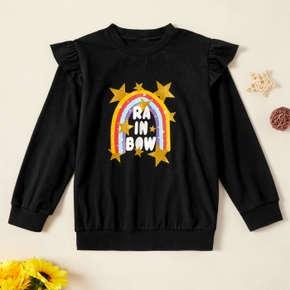 Kids Girl Rainbow Ruffled Sweatshirt