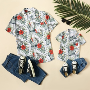Floral Print Front Buttons Short Sleeve Shirts for Daddy and Me