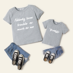 Mosaic Family Matching Summer Trouble Letter Print Mommy and Me Cotton Tees