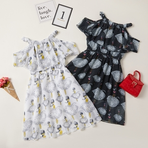 Trendy Kid Girl Flutter-sleeve Ballet Print Dress