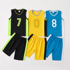Number Print Color Block Tank Top and Shorts Athleisure Set for Toddlers / Kids