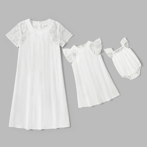100% Cotton Solid White Lace Short-sleeve Matching Mini Dresses