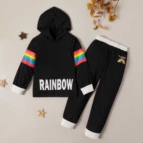Trendy Letter Rainbow Striped Hooded Sweatshirt and Pants Set