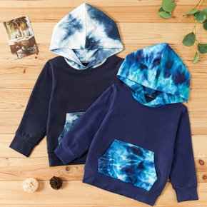 Baby / Toddler Tie-dye Splice Long-sleeve Hooded Pullover