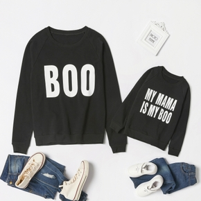 Letter Print Black Cotton Sweatshirts for Mom and Me